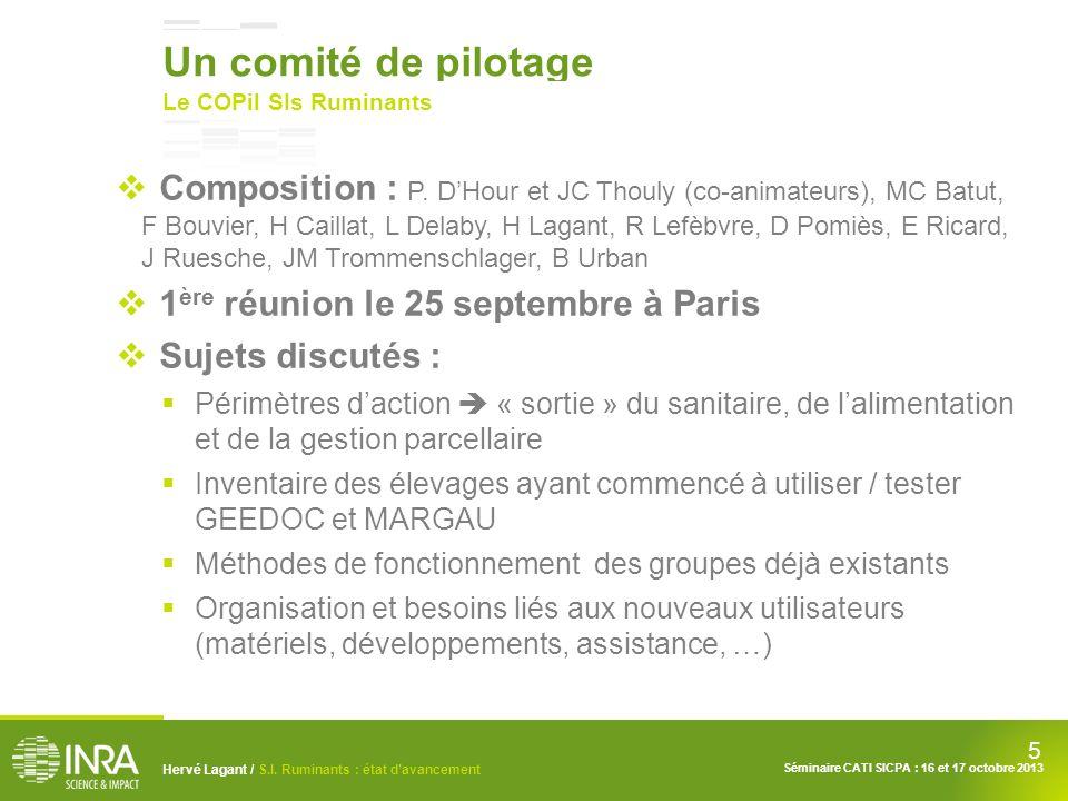 Un comité de pilotage Le COPil SIs Ruminants.