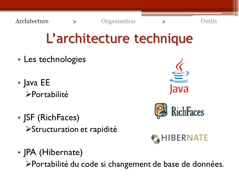 L'architecture technique