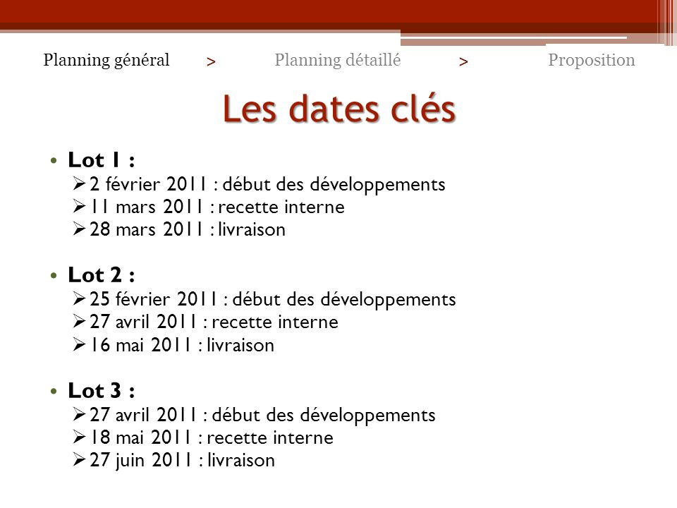 Les dates clés Lot 1 : Lot 2 : Lot 3 :