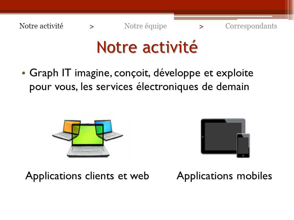 Applications clients et web Applications mobiles