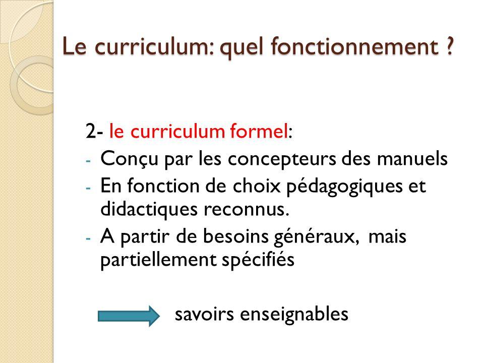 Le curriculum: quel fonctionnement