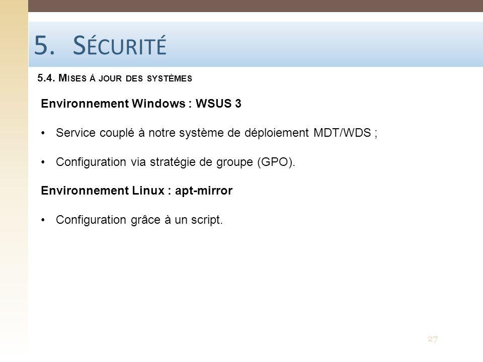 Sécurité Environnement Windows : WSUS 3