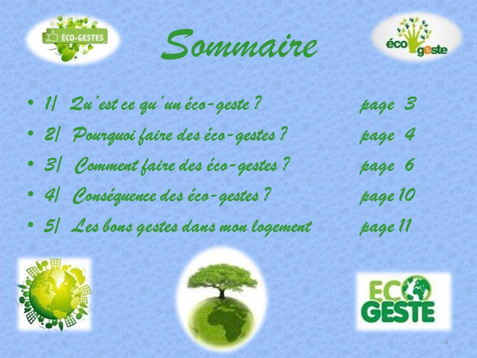 Sommaire 1/ Qu'est ce qu'un éco-geste page 3