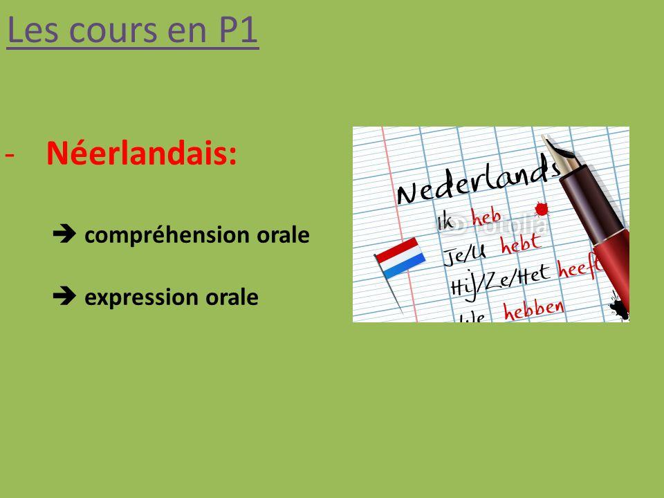 Les cours en P1 Néerlandais:  compréhension orale  expression orale