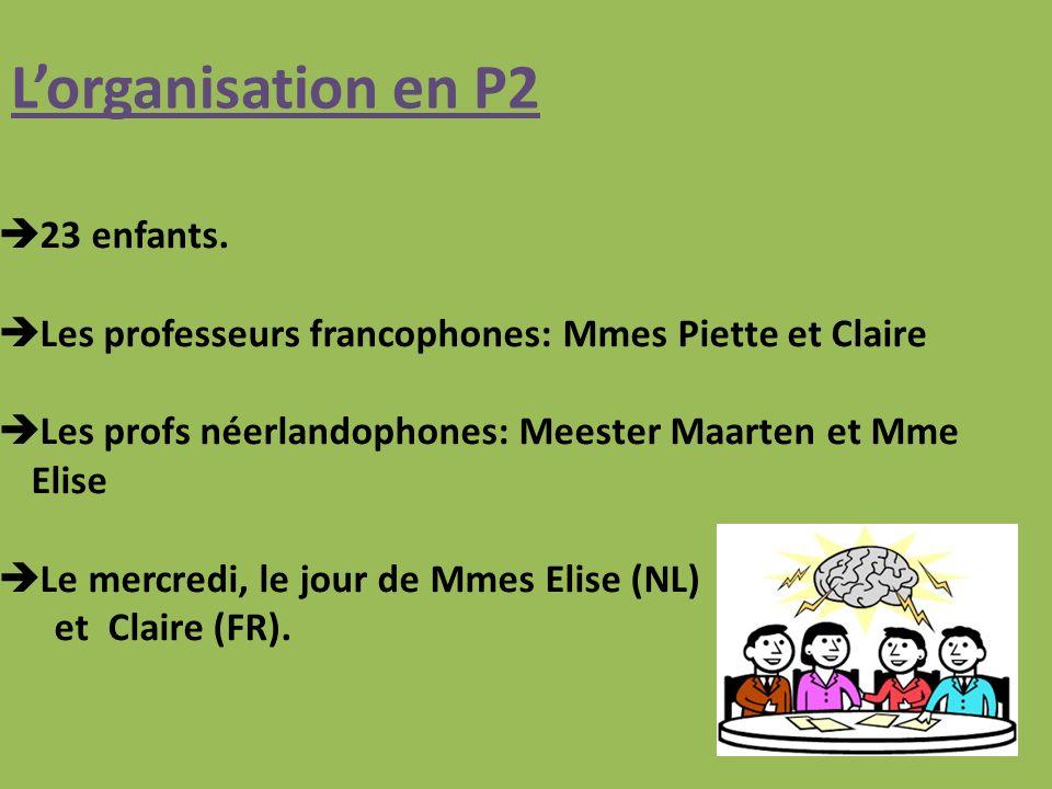 L'organisation en P2 23 enfants.