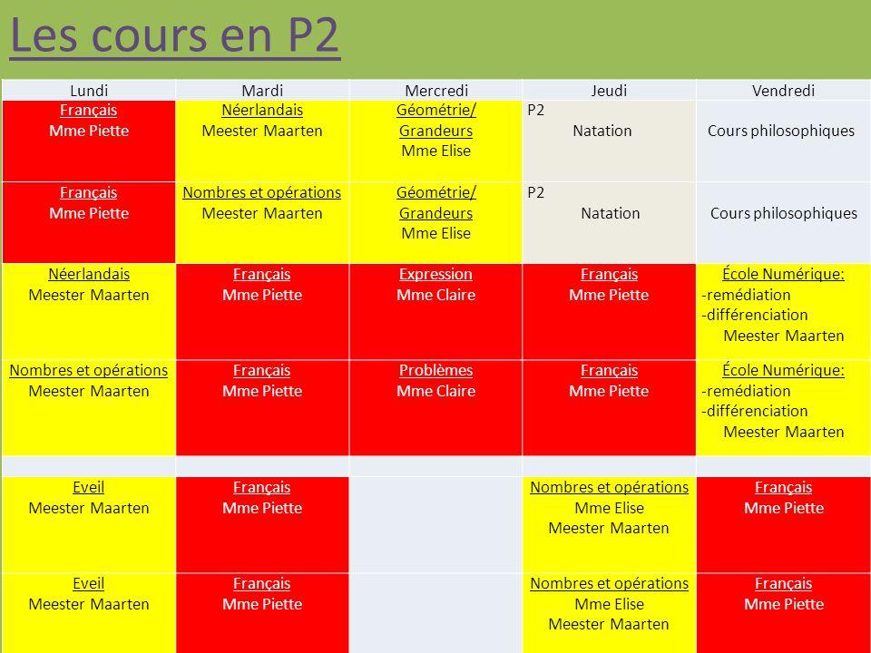 Les cours en P2 Lundi Mardi Mercredi Jeudi Vendredi Français
