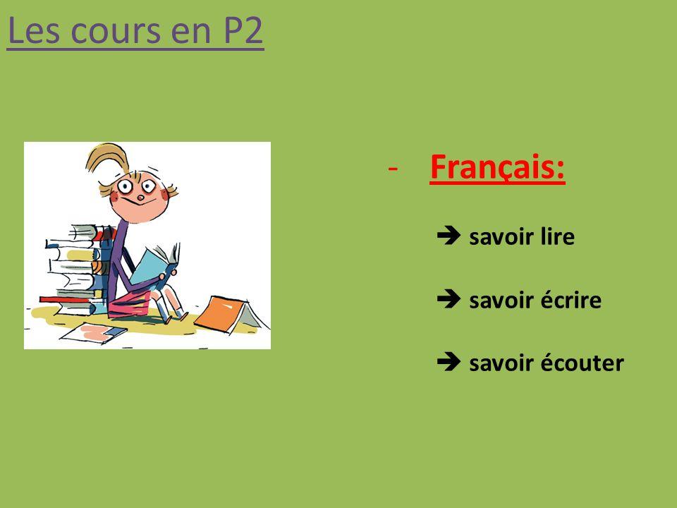 Les cours en P2 Français:  savoir lire  savoir écrire