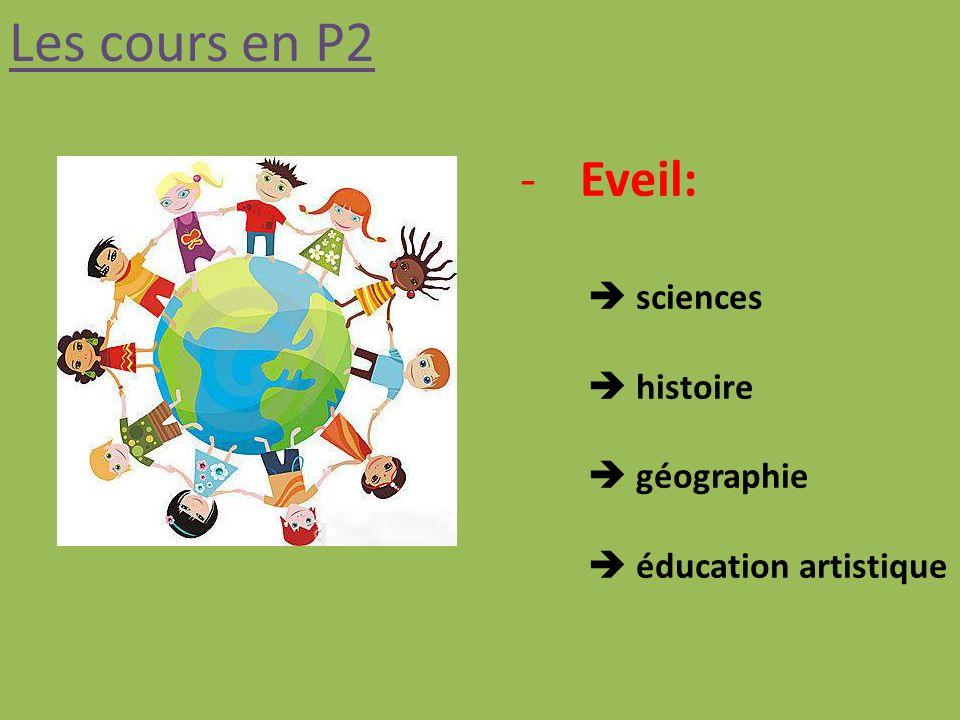 Les cours en P2 Eveil:  sciences  histoire  géographie