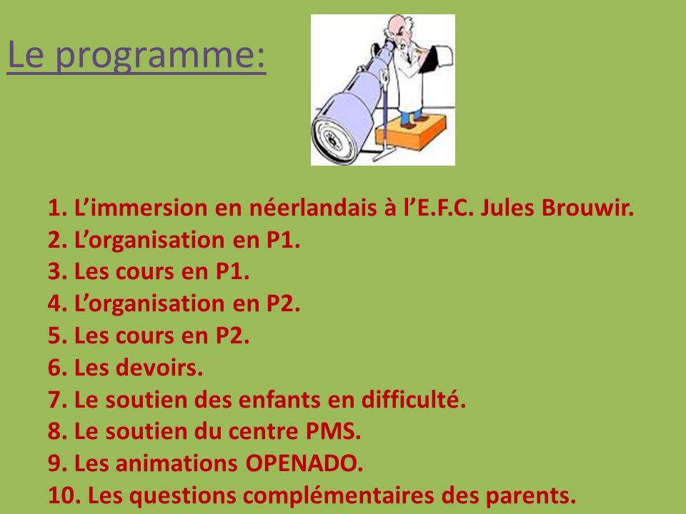 Le programme: 1. L'immersion en néerlandais à l'E.F.C. Jules Brouwir.
