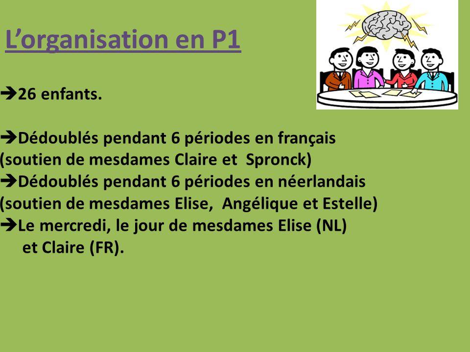 L'organisation en P1 26 enfants.