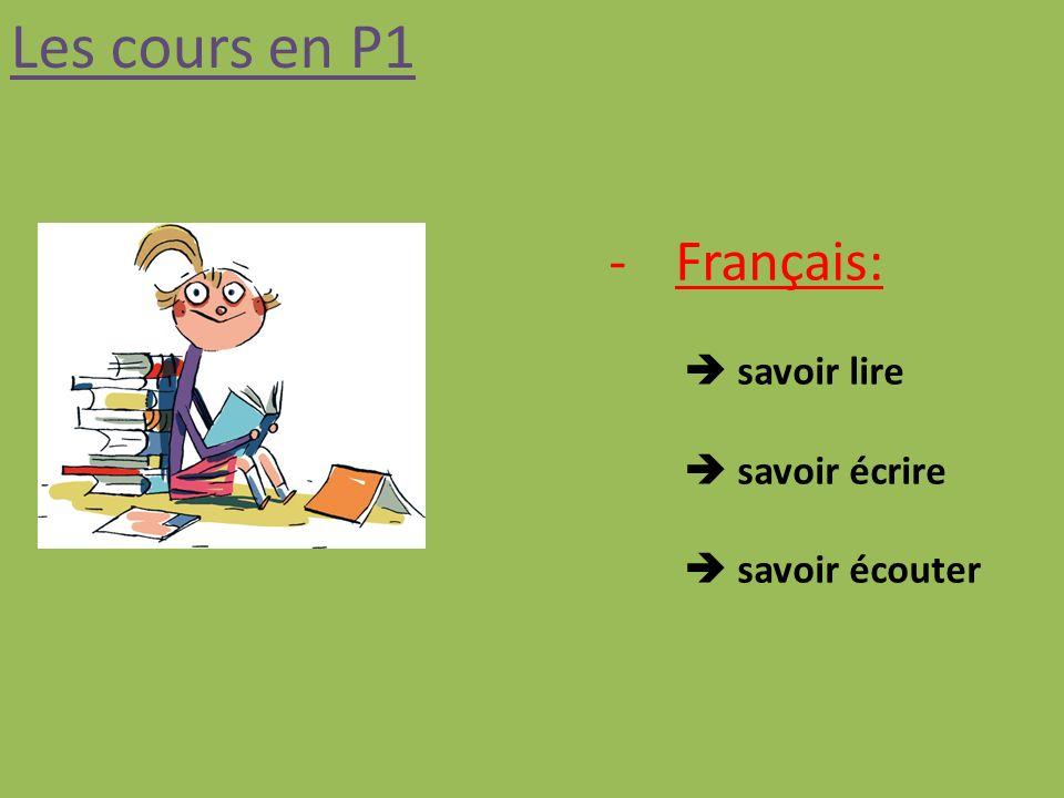 Les cours en P1 Français:  savoir lire  savoir écrire