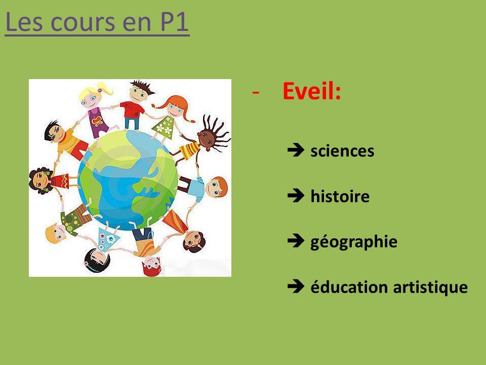 Les cours en P1 Eveil:  sciences  histoire  géographie