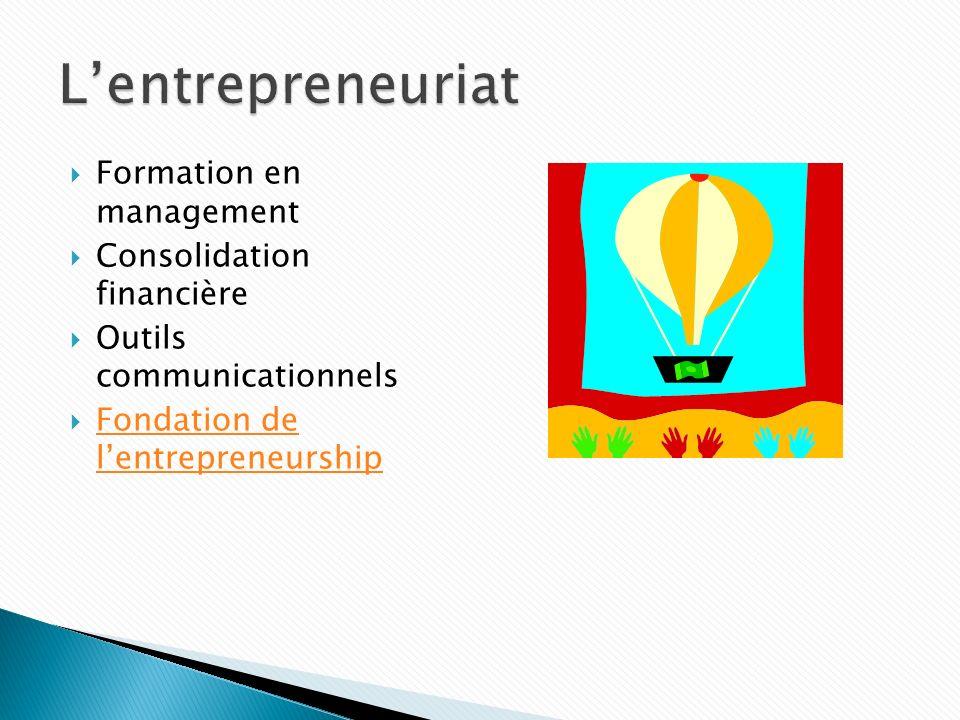 L'entrepreneuriat Formation en management Consolidation financière