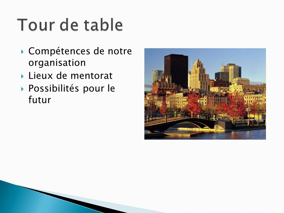 Tour de table Compétences de notre organisation Lieux de mentorat