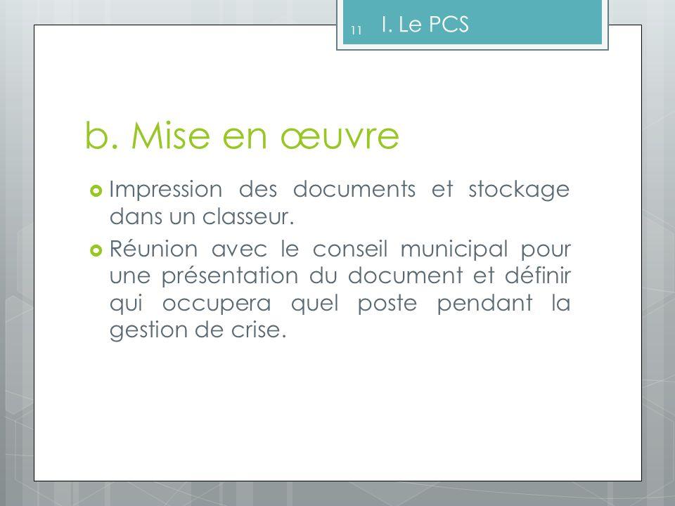 I. Le PCS b. Mise en œuvre. Impression des documents et stockage dans un classeur.