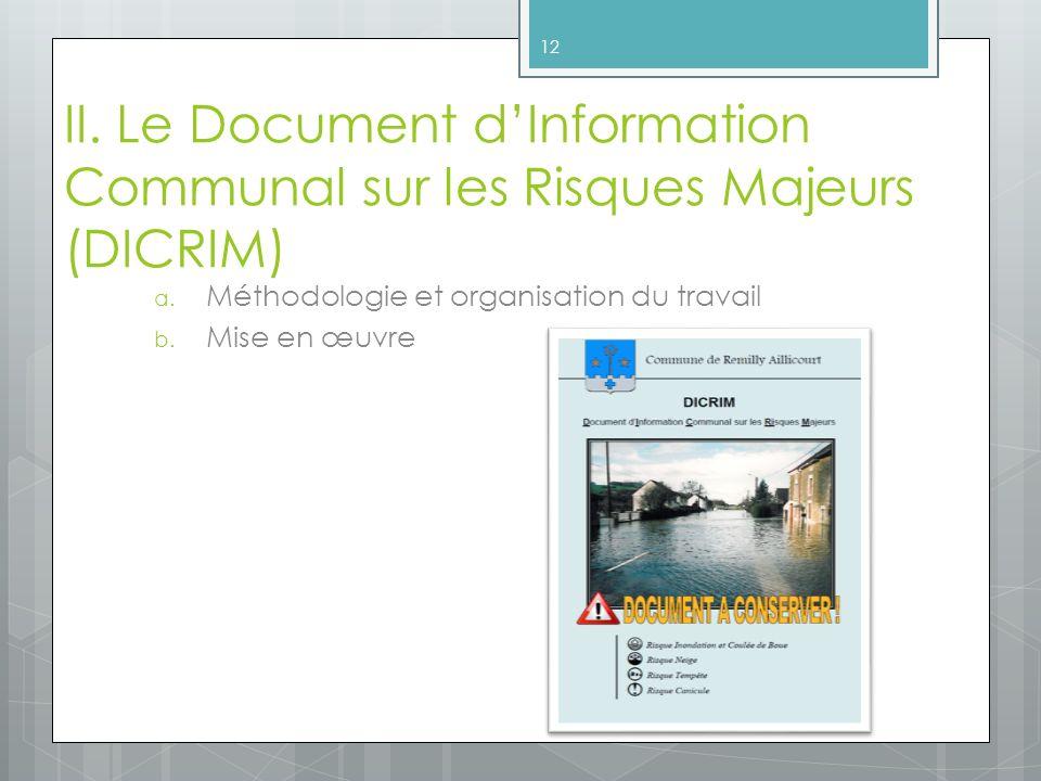 II. Le Document d'Information Communal sur les Risques Majeurs (DICRIM)