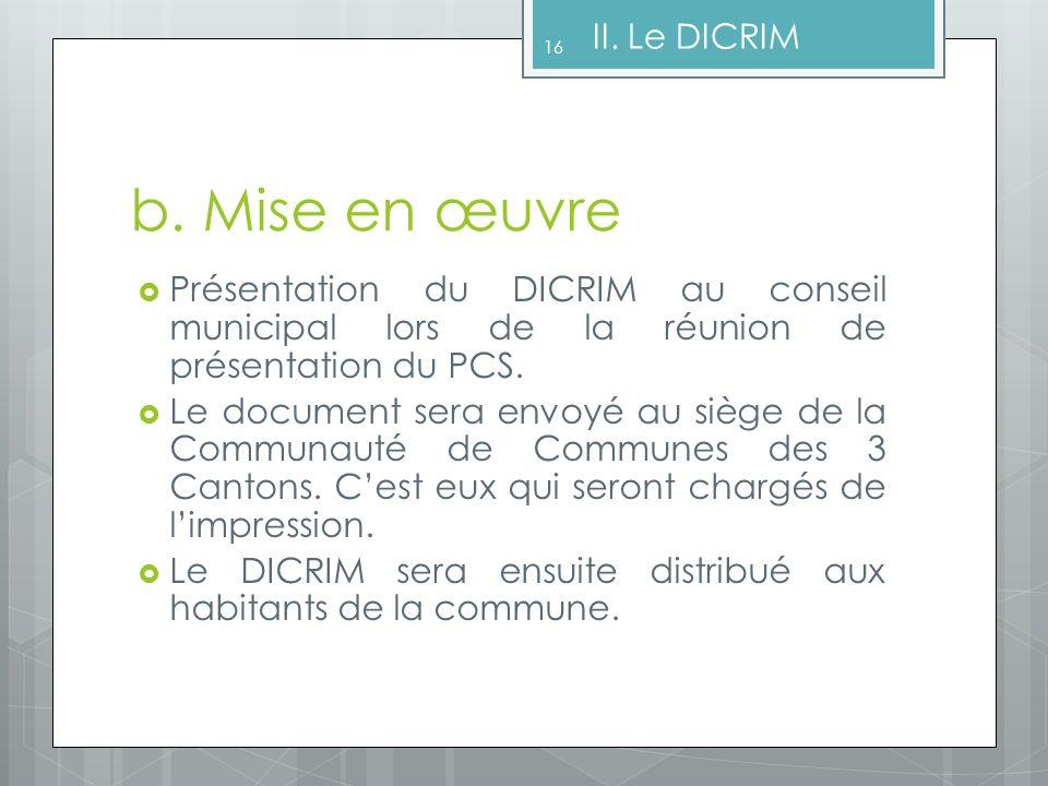 b. Mise en œuvre II. Le DICRIM