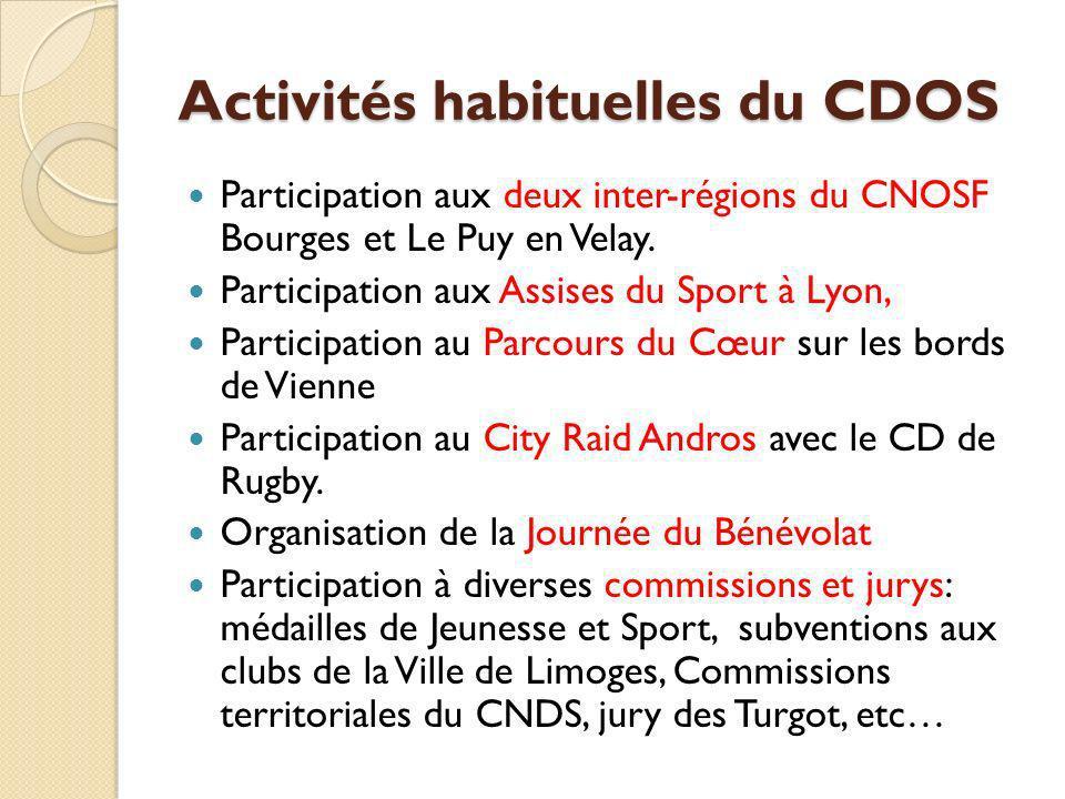Activités habituelles du CDOS