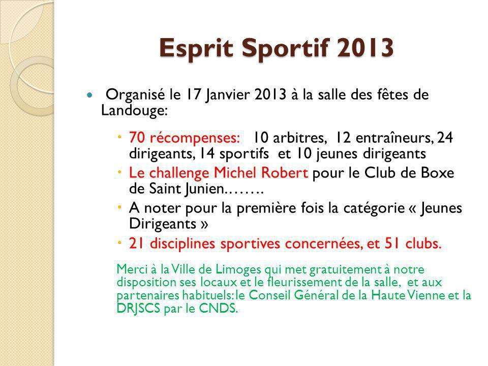 Esprit Sportif 2013 Organisé le 17 Janvier 2013 à la salle des fêtes de Landouge:
