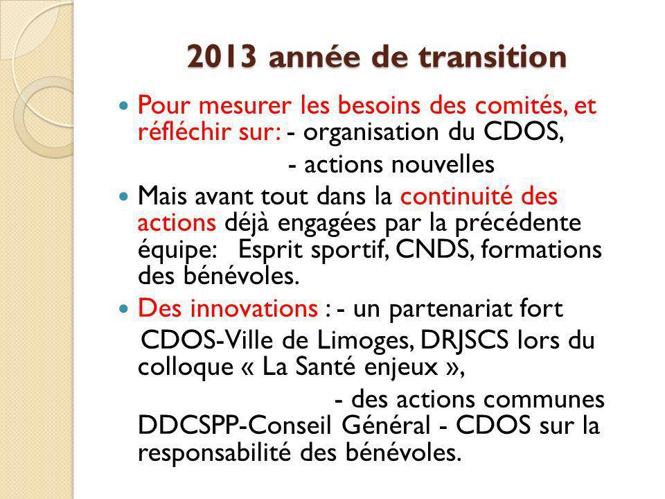 2013 année de transition Pour mesurer les besoins des comités, et réfléchir sur: - organisation du CDOS,