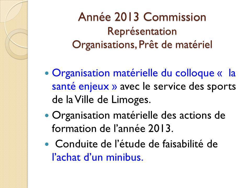 Année 2013 Commission Représentation Organisations, Prêt de matériel
