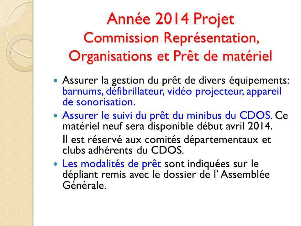 Année 2014 Projet Commission Représentation, Organisations et Prêt de matériel