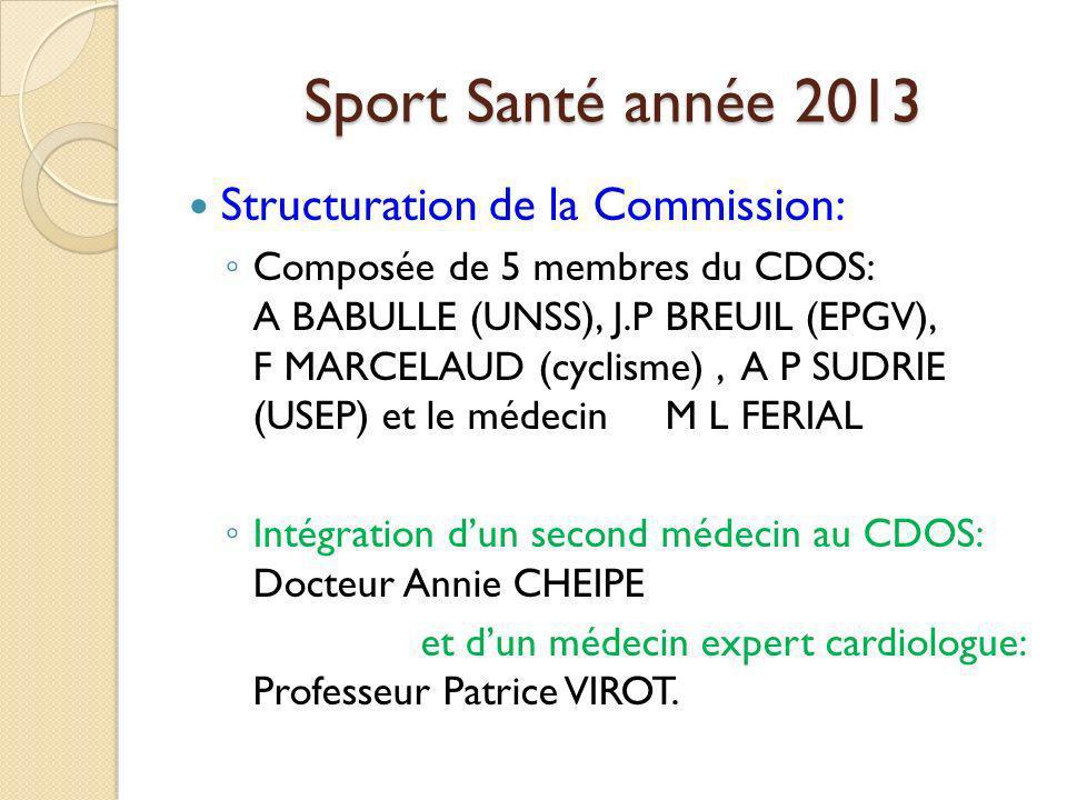 Sport Santé année 2013 Structuration de la Commission: