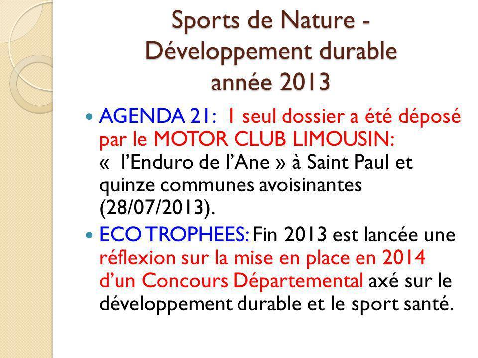 Sports de Nature - Développement durable année 2013
