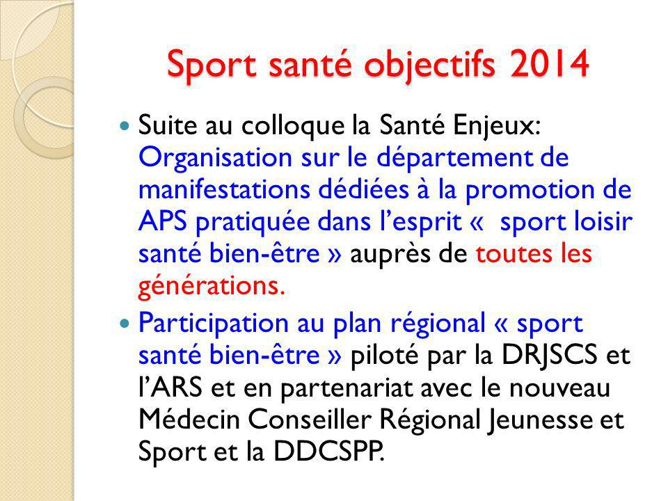 Sport santé objectifs 2014