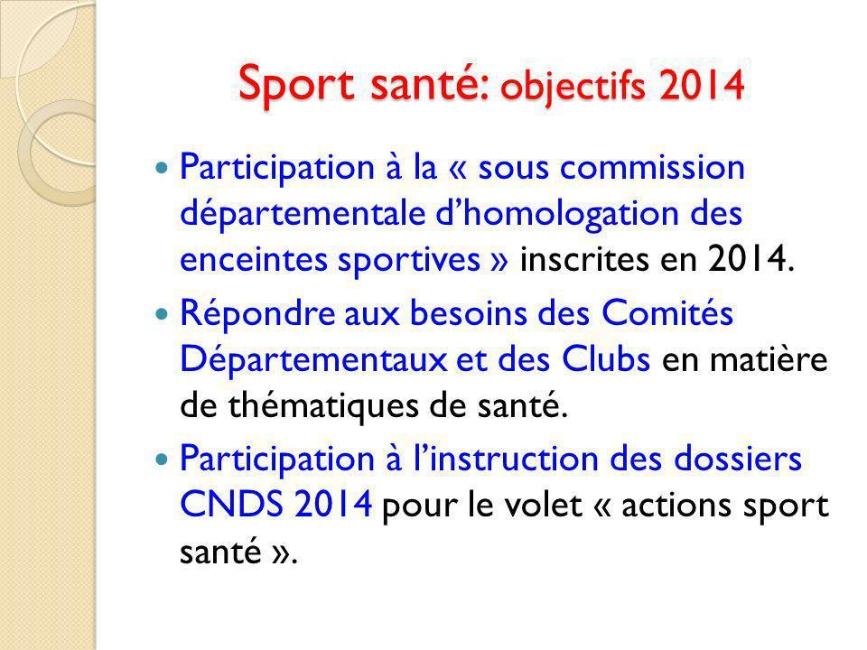 Sport santé: objectifs 2014
