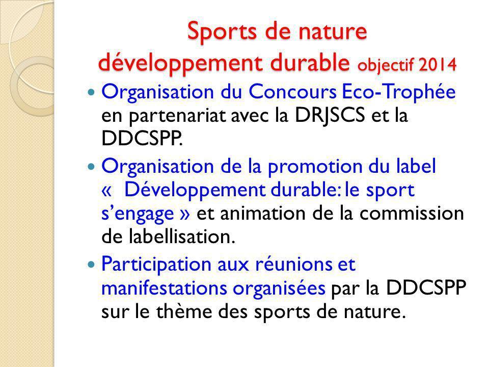 Sports de nature développement durable objectif 2014