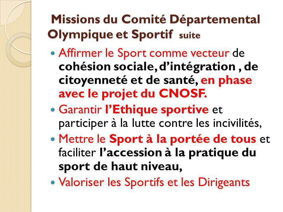 Missions du Comité Départemental Olympique et Sportif suite