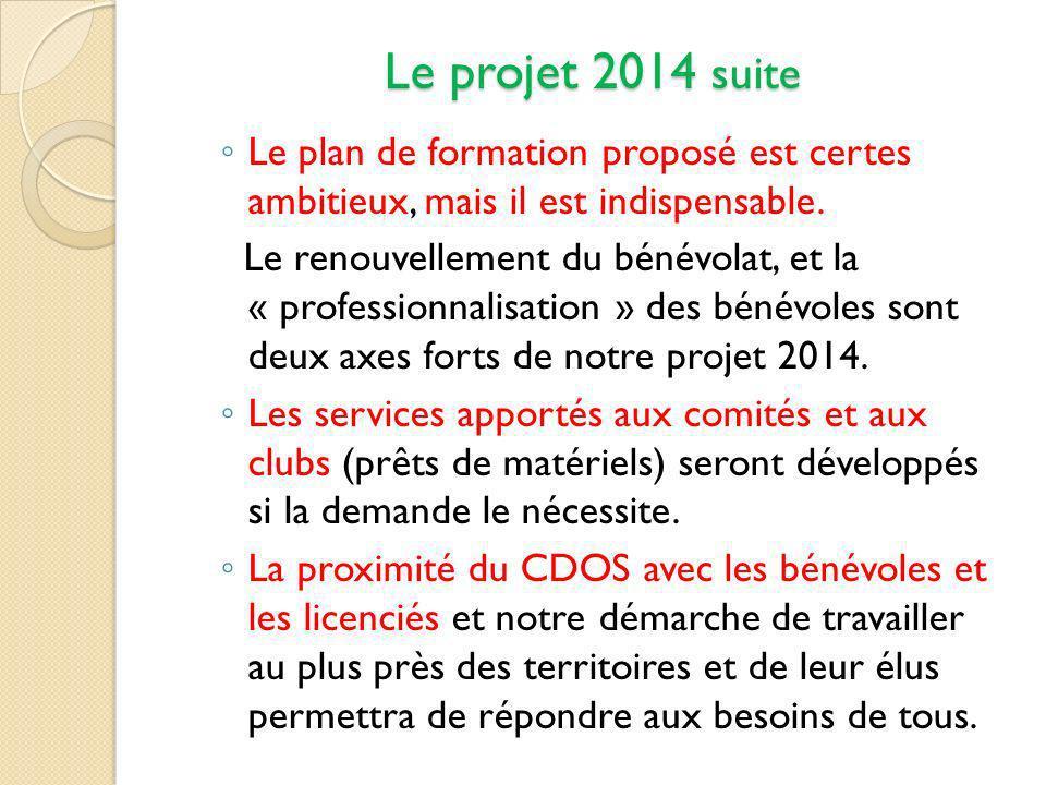Le projet 2014 suite Le plan de formation proposé est certes ambitieux, mais il est indispensable.