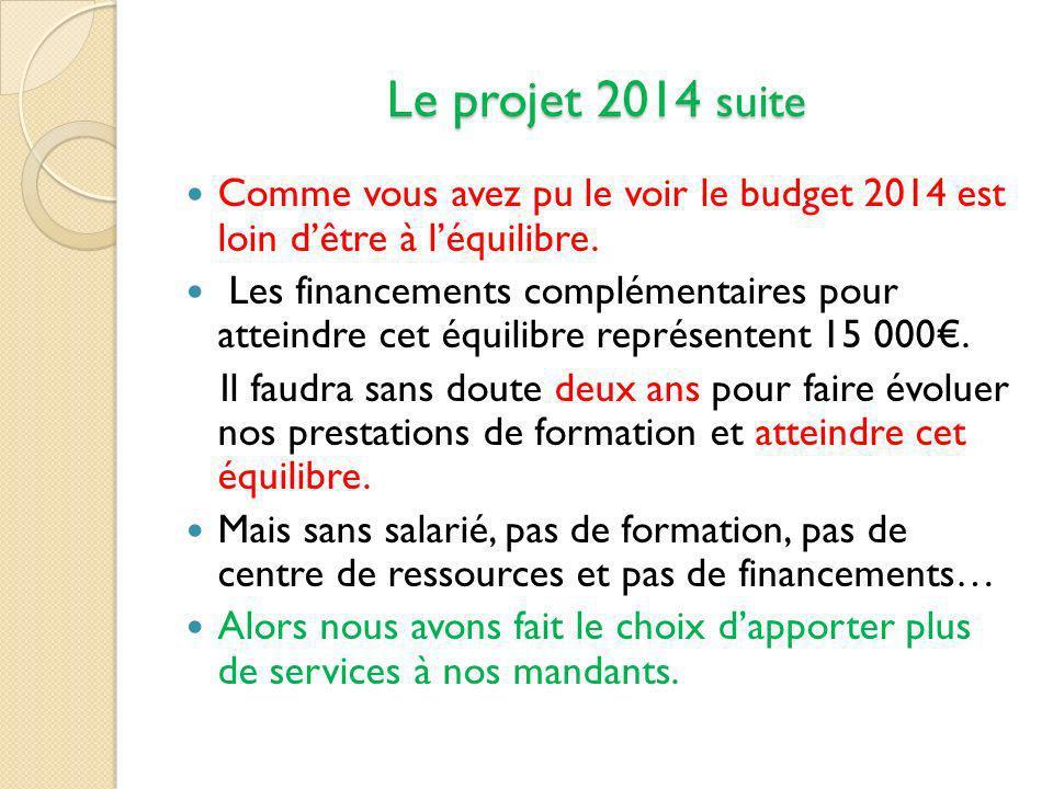 Le projet 2014 suite Comme vous avez pu le voir le budget 2014 est loin d'être à l'équilibre.