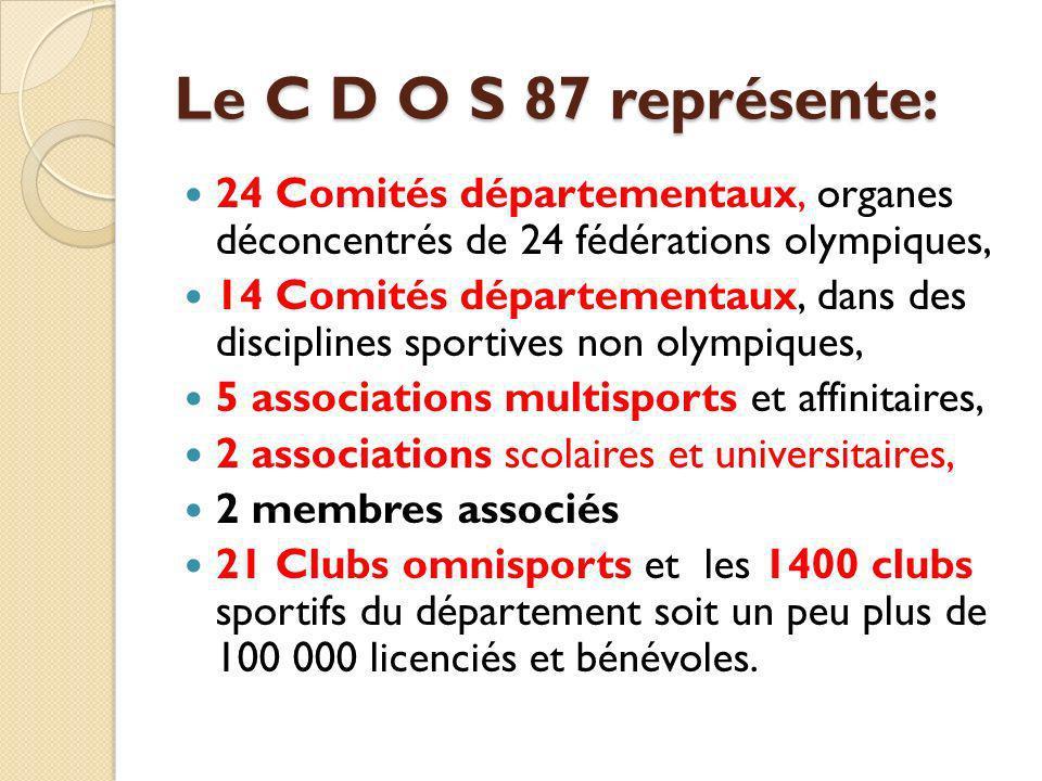 Le C D O S 87 représente: 24 Comités départementaux, organes déconcentrés de 24 fédérations olympiques,