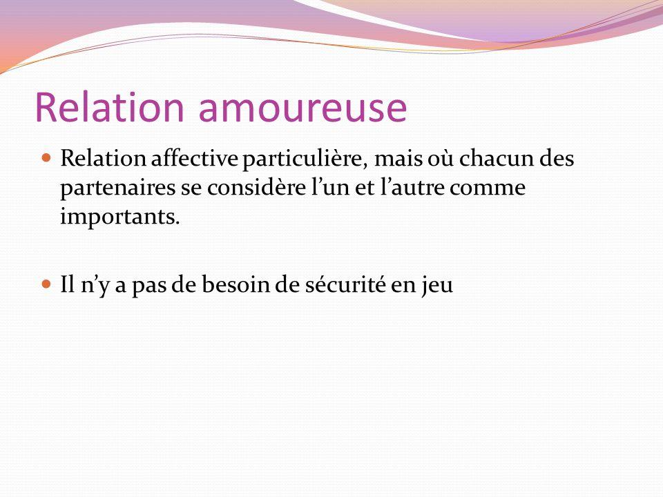 Relation amoureuse Relation affective particulière, mais où chacun des partenaires se considère l'un et l'autre comme importants.