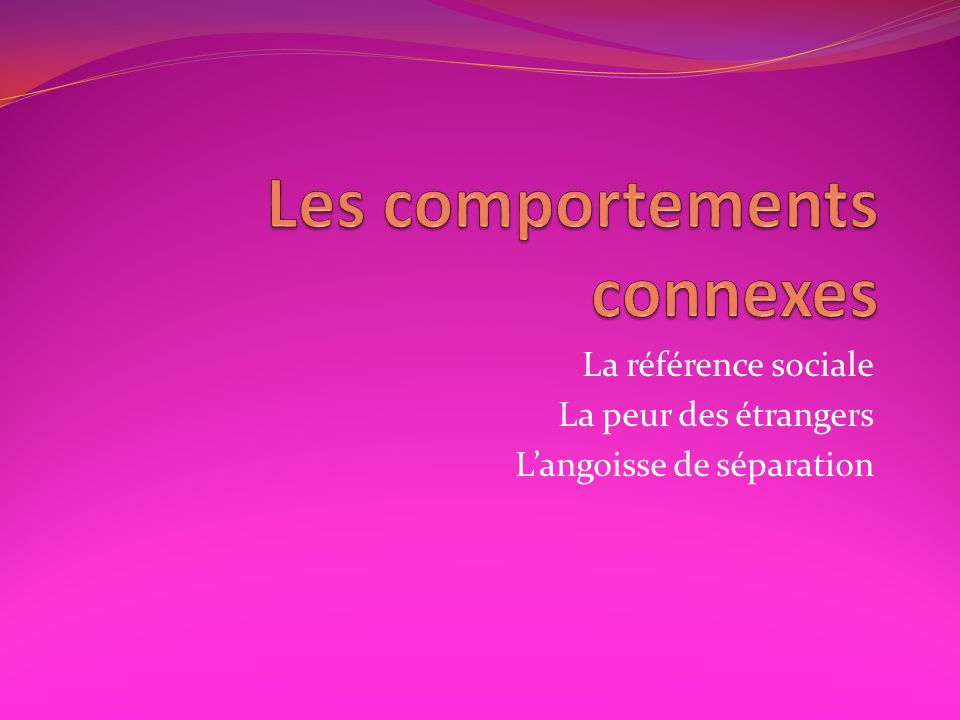 Les comportements connexes