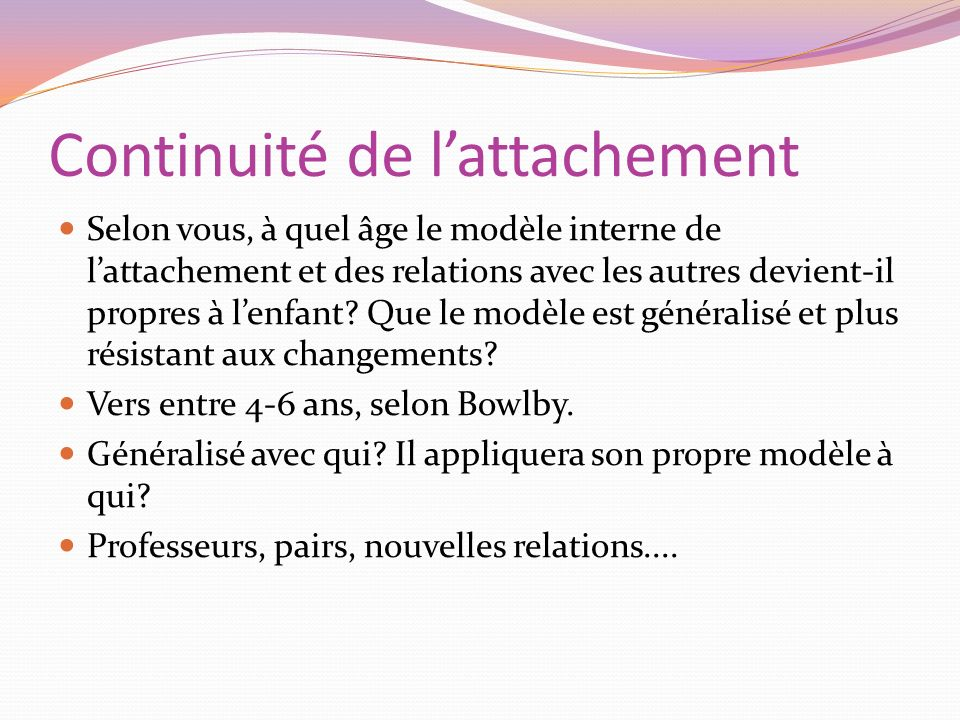 Continuité de l'attachement