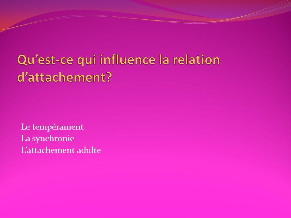 Qu'est-ce qui influence la relation d'attachement