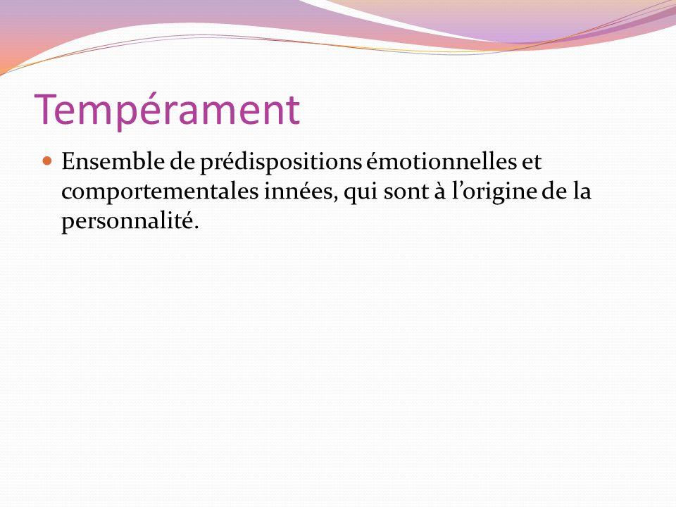 Tempérament Ensemble de prédispositions émotionnelles et comportementales innées, qui sont à l'origine de la personnalité.