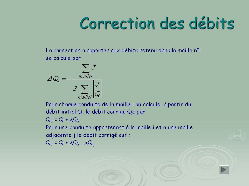 Correction des débits