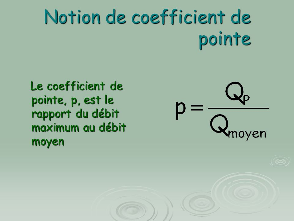 Notion de coefficient de pointe