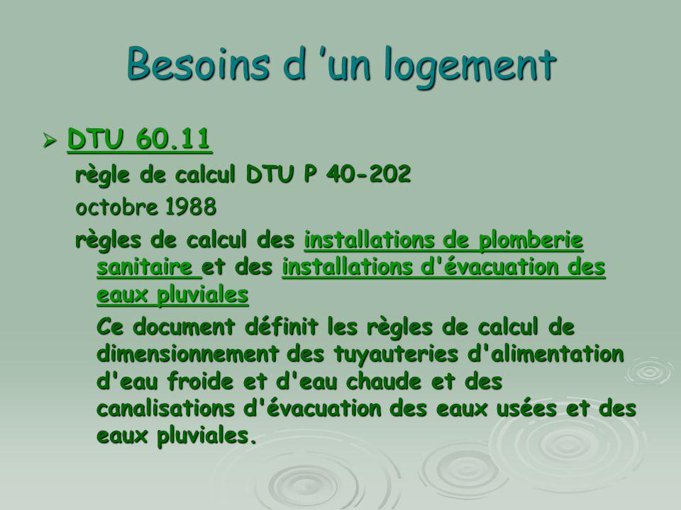 Besoins d 'un logement DTU 60.11 règle de calcul DTU P 40-202