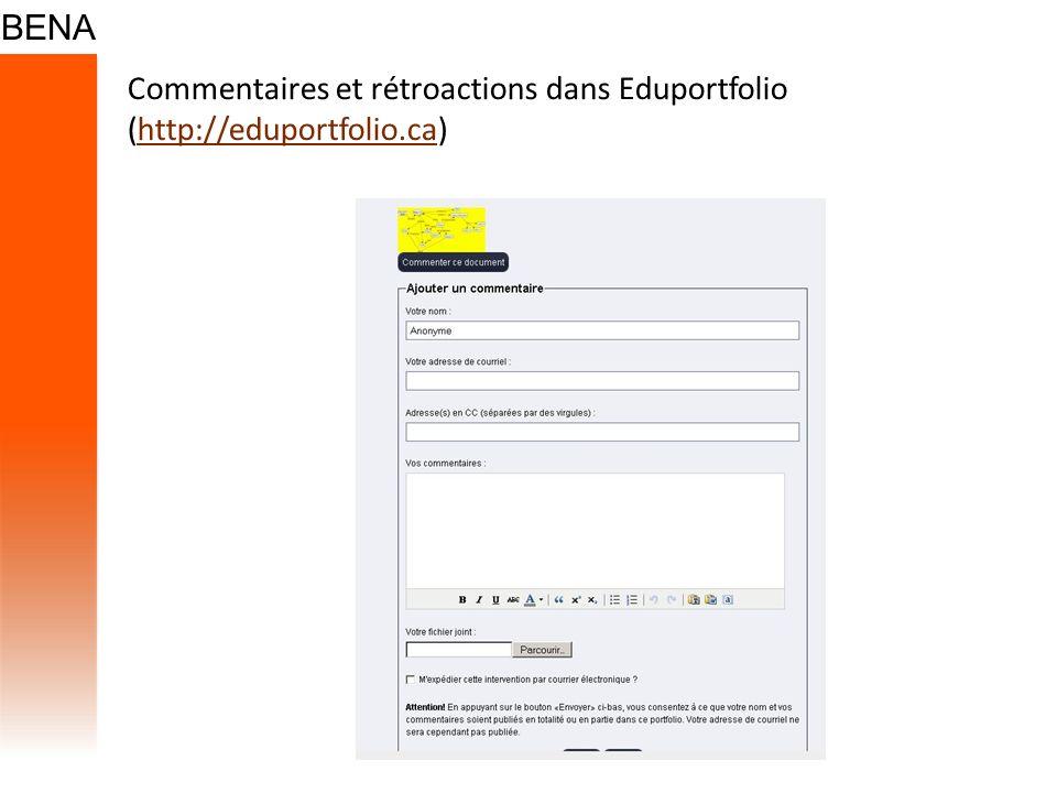 Commentaires et rétroactions dans Eduportfolio (http://eduportfolio