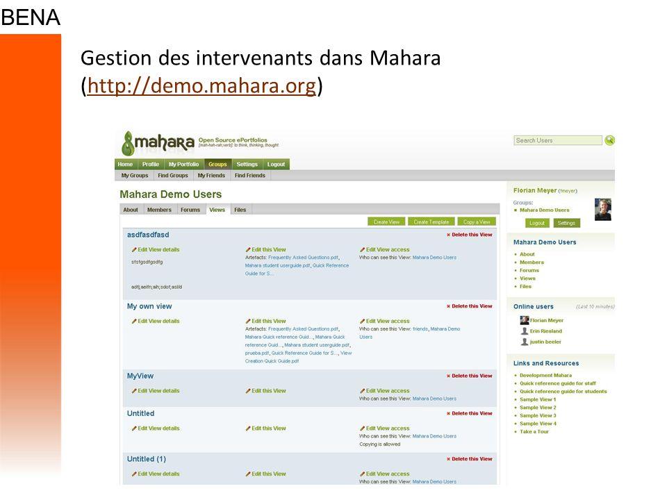 Gestion des intervenants dans Mahara (http://demo.mahara.org)
