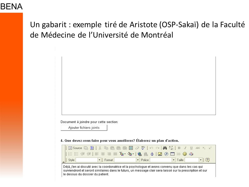 Un gabarit : exemple tiré de Aristote (OSP-Sakaï) de la Faculté de Médecine de l'Université de Montréal