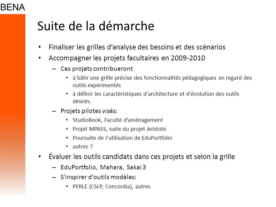 Suite de la démarche Finaliser les grilles d'analyse des besoins et des scénarios. Accompagner les projets facultaires en 2009-2010.