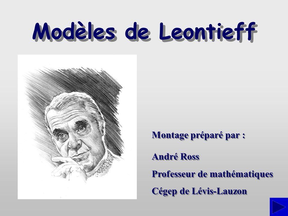 Modèles de Leontieff Montage préparé par : André Ross