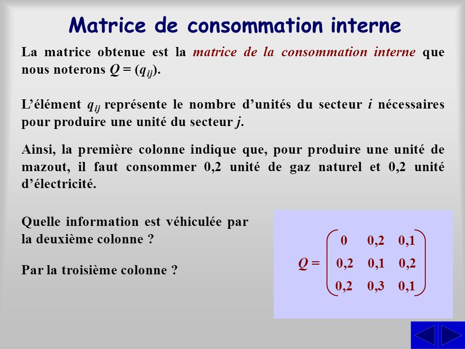 Matrice de consommation interne