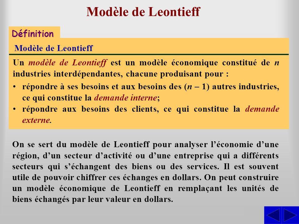Modèle de Leontieff S Définition Modèle de Leontieff
